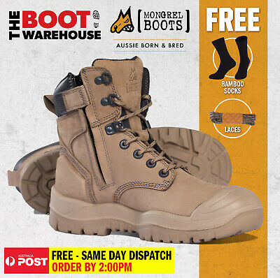 AU177.95 • Buy Mongrel 561060 Work Boots. Safety Steel Toe Cap. 'STONE'  High Ankle, Zip Sider.