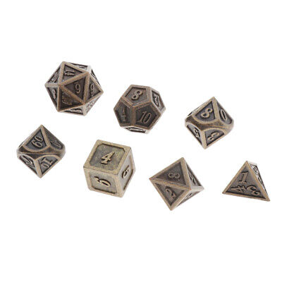 AU11.59 • Buy Set Of 7 Polyhedral Metal Dice Bronze For Dungeons&Dragons DnD RPG Games