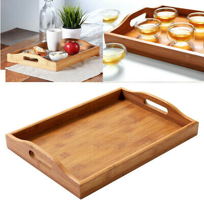 $16.09 • Buy Bamboo Wood Food Fruit Storage Tray Table Breakfast Serving Tray With Handles US
