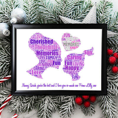 Personalised Grandmother Gifts Nanny Nan Christmas Her Framed  Card Grandaughter • 5.99£