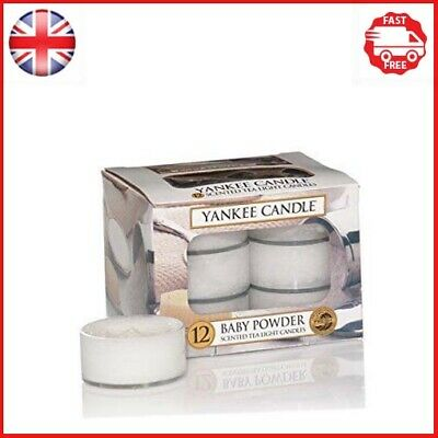 Yankee Candle Tea Light Candles, Baby Powder, Pack Of 12 • 20.44£