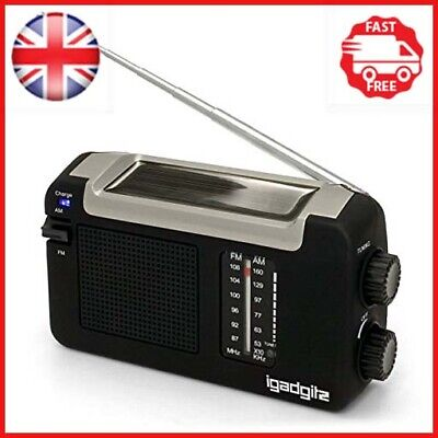 IGadgitz Xtra Wind Up, Solar, & USB Rechargeable Portable AM/FM Radio With 3 • 18.51£