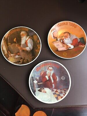 $ CDN40 • Buy Lot Of 3 Knowles Norman Rockwell Christmas Santa Plates 1984, 1985, 1986