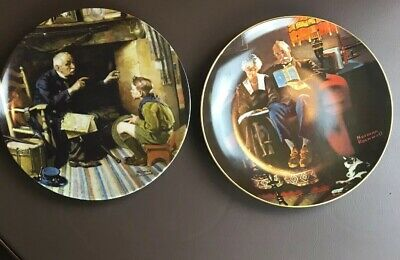 "$ CDN25.31 • Buy Lot Of 2 Knowles Norman Rockwell Plates ""The Veteran"" ""Evenings Ease"""
