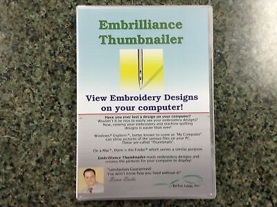 $39 • Buy Embrilliance Thumbnailer Pre-View Machine Embroidery Designs Software Win & Mac