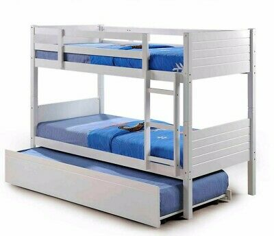 Kids Childrens White Bunk Bed With Trundle Underbed Drawers And Mattress Option • 349.99£