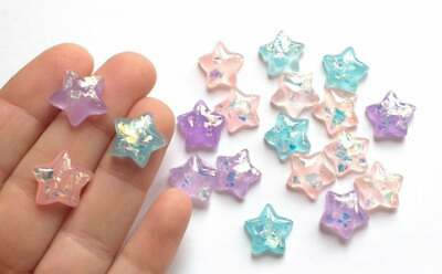 Pastel Star Cabochons, Decoden Charms, Slime Making, Crafts Supplies • 1.79£