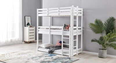 £329.99 • Buy Bunkbed Triple Sleeper Bed White In Solid Pine 3 Tier Bed 3ft Extra Thick Frame