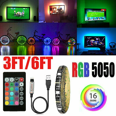 $6.55 • Buy USB LED Light Strip Waterproof TV Computer Background Lights RGB 5050 W/ Remote