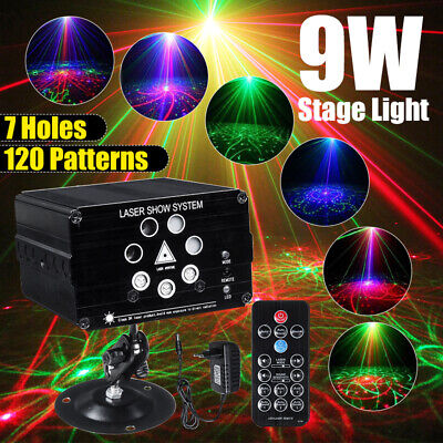 120 Patterns Laser Projector Stage Lights Mini 9W LED RGB Light Party DJ Disco  • 41.88$