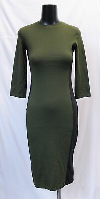 $17.99 • Buy Zara Women's Trafaluc 1/2 Sleeve Jersey T-Shirt Dress KB8 Green/Black Small NWT