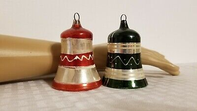 $ CDN17.17 • Buy Vintage Christmas Bell Ornaments Mercury Glass W/ Clappers Germany Hand Painted