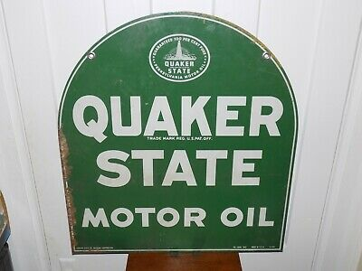 Quaker State Tombstone Metal Double Sided Sign 1949 • 350$