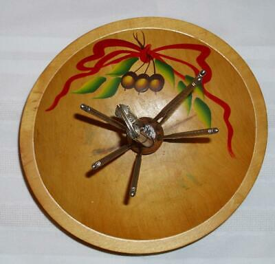 VTG WOODEN OUT OF ROUND NUT BOWL W.METAL HMQ NUT CRACKER & 6 PICK SET BALL FEET • 19.99$