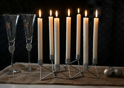 £9.71 • Buy Silver Taper Candle Holder Modern Geometric 7 Arm Table Centrepiece Decoration