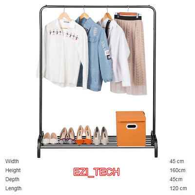 £19.99 • Buy Heavy Duty Metal Clothes Hanging Rail Clothing Coat Stand With Shoe Rack Shelf