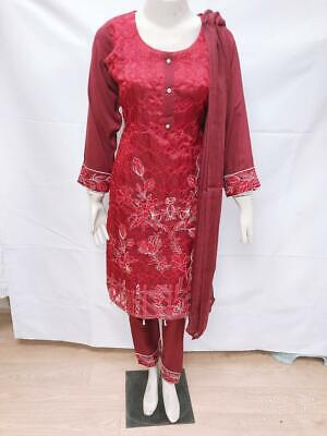 Pakistani Indian Embroidery Clothes Wedding Party Outfit ReadyMade Shalwar Kame • 22.99£