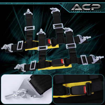 $ CDN62.48 • Buy 2X Black 4 Point Harness Adjustable Seat Belt Strap Buckle Latch Gold Strap