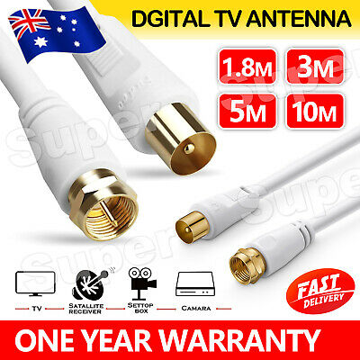 AU6.95 • Buy TV Antenna Cable PAL Male To F-Type Flylead Aerial Cord Coax Lead 1.8M 3M 5M 10M