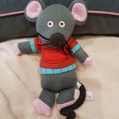 Mouse Knitted Soft Toy Plush By Latitude Enfants NEW N • 24.65£
