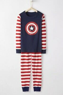 $25.95 • Buy NWT Hanna Andersson Marvel Captain America  Long John Pajamas Cotton Size 6-7