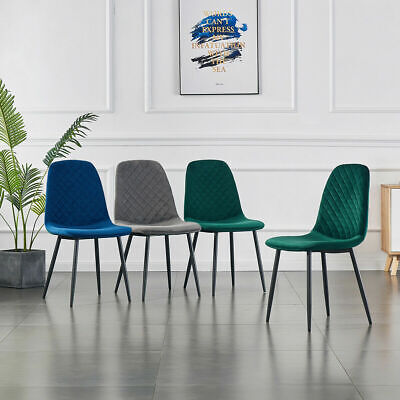 AU240 • Buy 2x Eames Dining Chairs Velvet Fabric Metal Legs Dressing Room Lounge Office Home