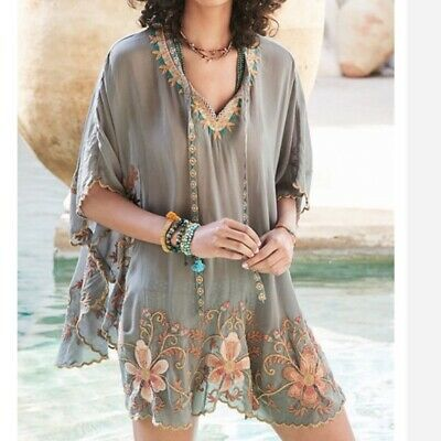 $127.75 • Buy Johnny Was Antoinette Poncho S Gray Floral Embroidered Kimono Beach Cover Up NWT