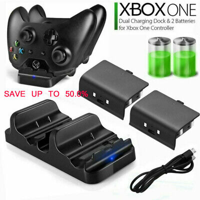 Dual Charging Station Dock Controller Charger+2Rechargeable Battery For Xbox One • 9.95$