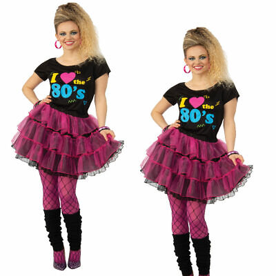 Ladies I Love The 80s T-Shirt & Skirt Fancy Dress Costume Festival Womens Outfit • 12.99£