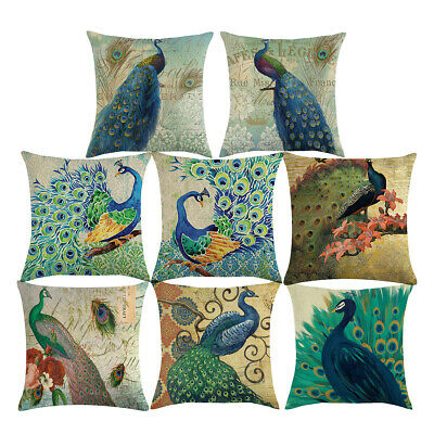 18x18 Inches Elegant Peacock Cojines Couch Sofa Pillow Case Square Cusion Cover • 2.99£