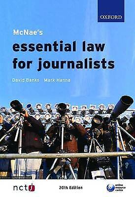 £6.99 • Buy McNae's Essential Law For Journalists,David Banks, Mark Hanna
