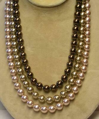 JOAN RIVERS GOLD EP 10mm GOLD PINK BRONZE OMBRE CZECH GLASS PEARL NECKLACE NEW • 22.49$