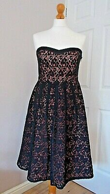 **john Rocha Black Lace Skater Dress With Coral Lining Size 12 In Great Cond** • 8.95£