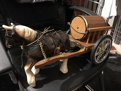 Vintage Porcelain Horse With Wooden Carriage Decorated Collectible Good Quality • 90£