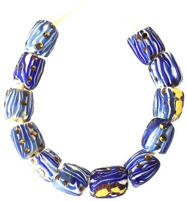 $52 • Buy 12 Antique Old Venetian Millefiori Blue And White Glass African Trade Beads