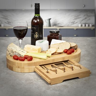 £19.99 • Buy Lrg Wooden Oval Cheese Board Set W/Integrated Drawer & 4 Cheese Knives,41x21x5cm