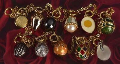 JOAN RIVERS QUEEN OF ROMANIA GOLD W ENAMEL & CRYSTAL 11 EGG CHARM NECKLACE LOT • 54.95$