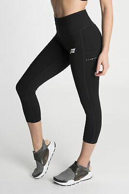 Feed The Gains Women's Black Figure Capri Leggings FTG Gym Clothing 3/4 Bottoms • 26.25£