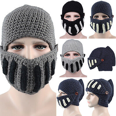 Mens Knit Beanie Hat With Detachable Beard Novelty Face Mask Winter Warm Ski Cap • 6.39£