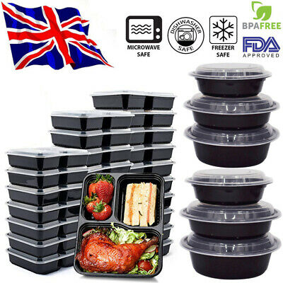 20x Food Containers Meal Prep Microwavable BPA Free Plastic Reusable Lunch Boxes • 13.02£