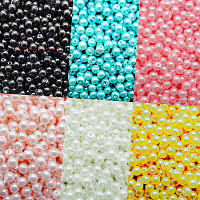 Glass Pearl Round 4mm Loose Beads With Hole 6 Colours Jewellery Crafts New • 0.99£