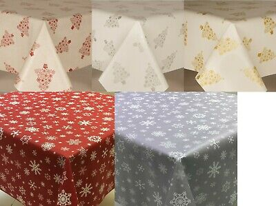 Christmas Pvc Vinyl Plastic Table Cloth Cover Wipe Clean Trees Or Snowflakes • 13.25£