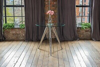 AU248.17 • Buy Skye Luxury Glass Round Dining Table With Chrome Base Seats 4 Designer Table