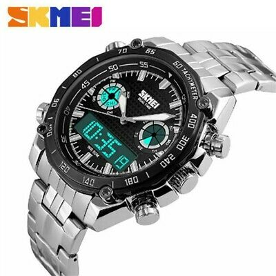 AU28.59 • Buy SKMEI Men's Watches LED Analog Digital Date Week Sports Outdoor Steel Wristwatch