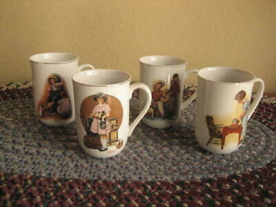 $ CDN26.36 • Buy Norman Rockwell Mugs Set Of Four 4 1981 Gold Trim NEW With Label
