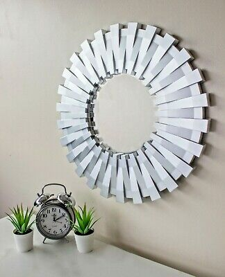 50cm Sunburst Wall Mounted Silver Mirror Large Home Decor Round Modern Vanity  • 14.99£