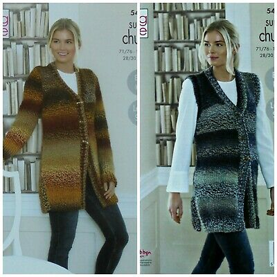KNITTING PATTERN Ladies Easy Knit Coat & Waistcoat Super Chunky King Cole 5460 • 3.95£