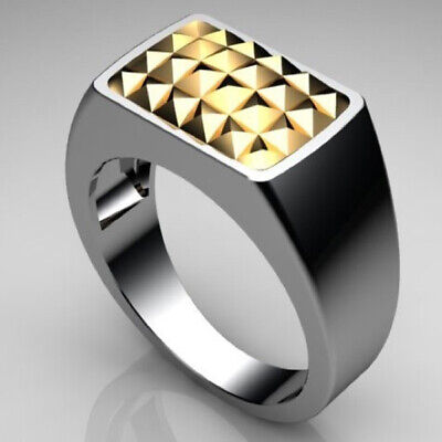 AU119 • Buy Gold Studded - Tough J21B Size U Gen Mens Sterling Silver & 9Ct Yellow Gold Ring