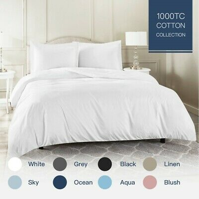 AU45 • Buy 100% Cotton 1000TC Single/KS/Double/Queen/King/Super K Quilt/Duvet Cover Set