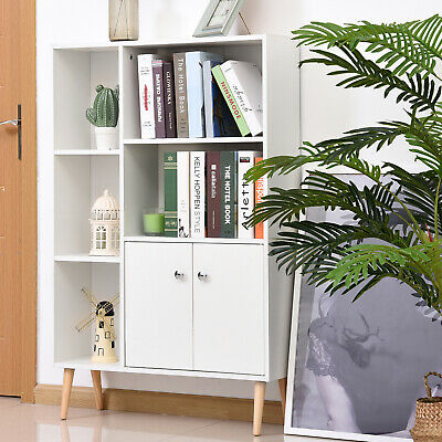 £49.99 • Buy HOMCOM Cabinet Shelves Bookcase Storage Unit Free Standing W/ Two Doors White